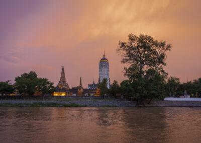 Wat Phutthaisawan on the Chao Phraya river at sunset